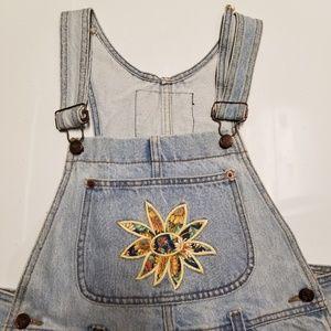 90s vintage L.E.I riding wear overalls M Sunflower